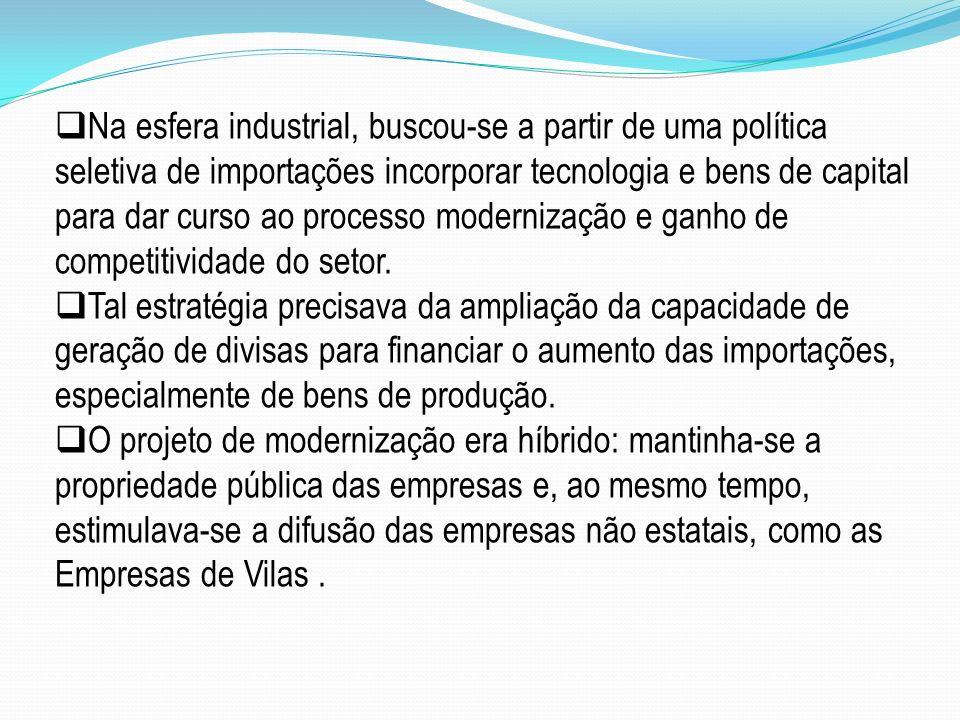 Na esfera industrial, buscou-se a partir de uma política seletiva de importações incorporar tecnologia e bens de capital para dar curso ao processo modernização e ganho de competitividade do setor.