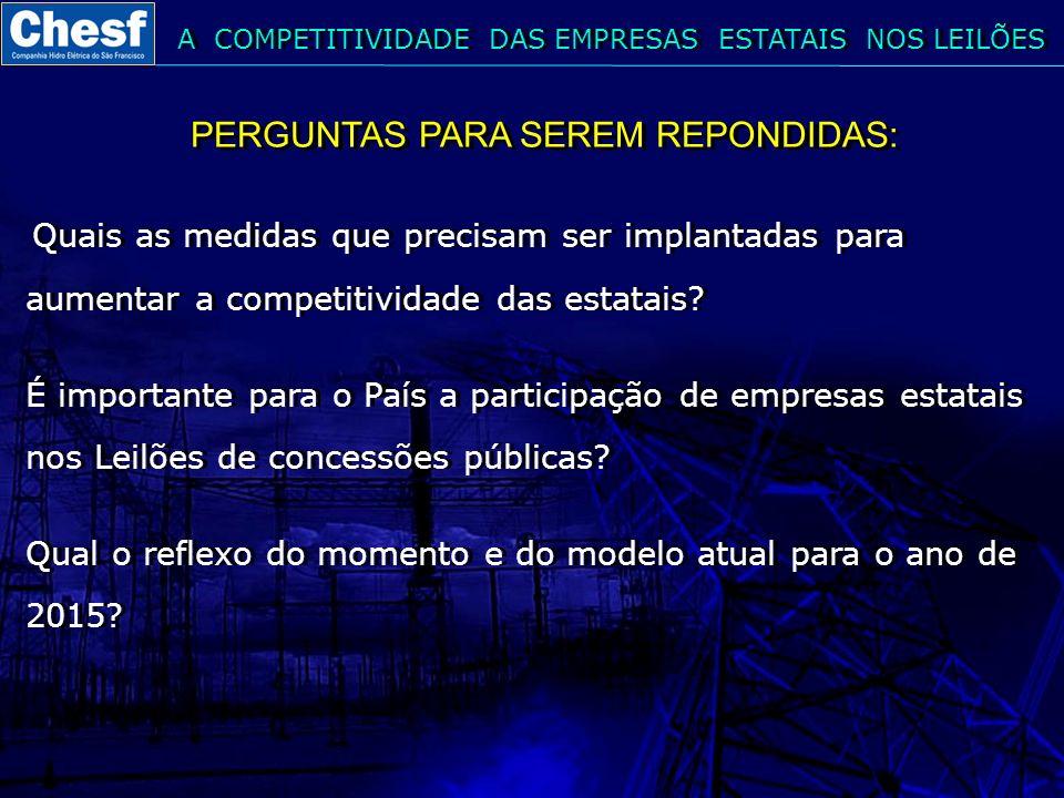 PERGUNTAS PARA SEREM REPONDIDAS: