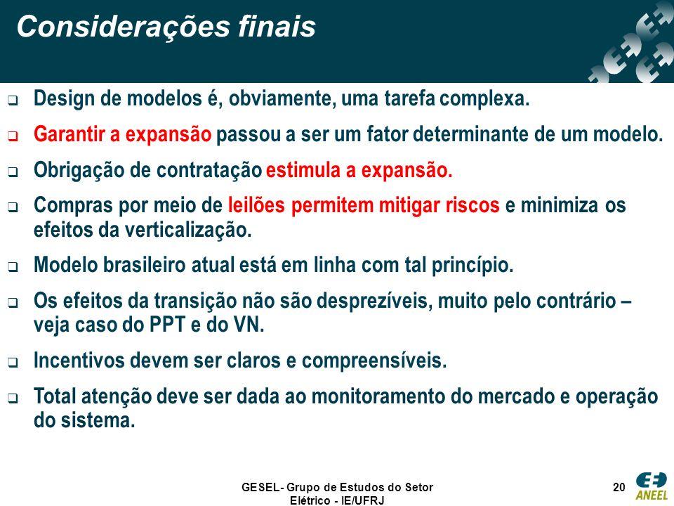 GESEL- Grupo de Estudos do Setor Elétrico - IE/UFRJ