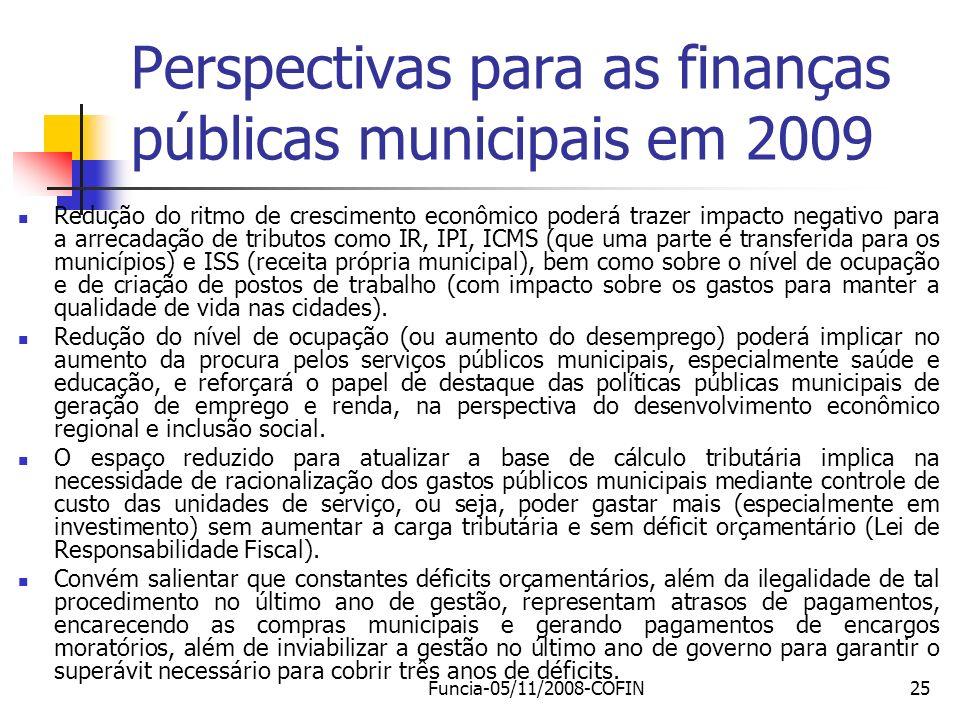 Perspectivas para as finanças públicas municipais em 2009