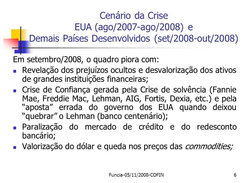 Cenário da Crise EUA (ago/2007-ago/2008) e Demais Países Desenvolvidos (set/2008-out/2008)