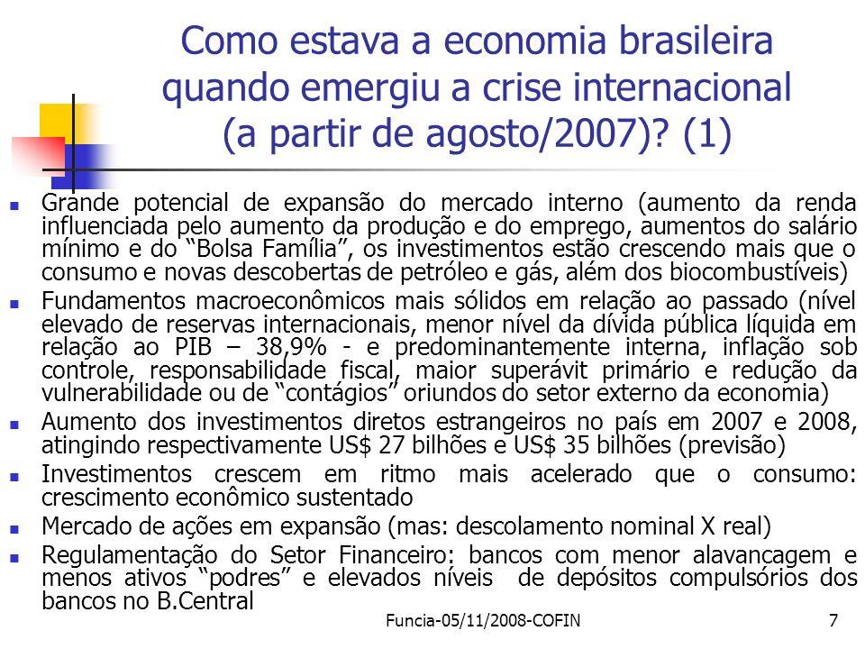 Como estava a economia brasileira quando emergiu a crise internacional (a partir de agosto/2007) (1)