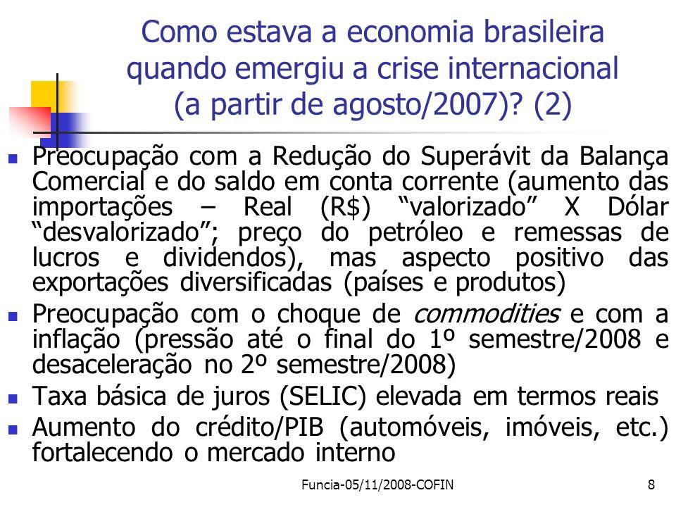 Como estava a economia brasileira quando emergiu a crise internacional (a partir de agosto/2007) (2)
