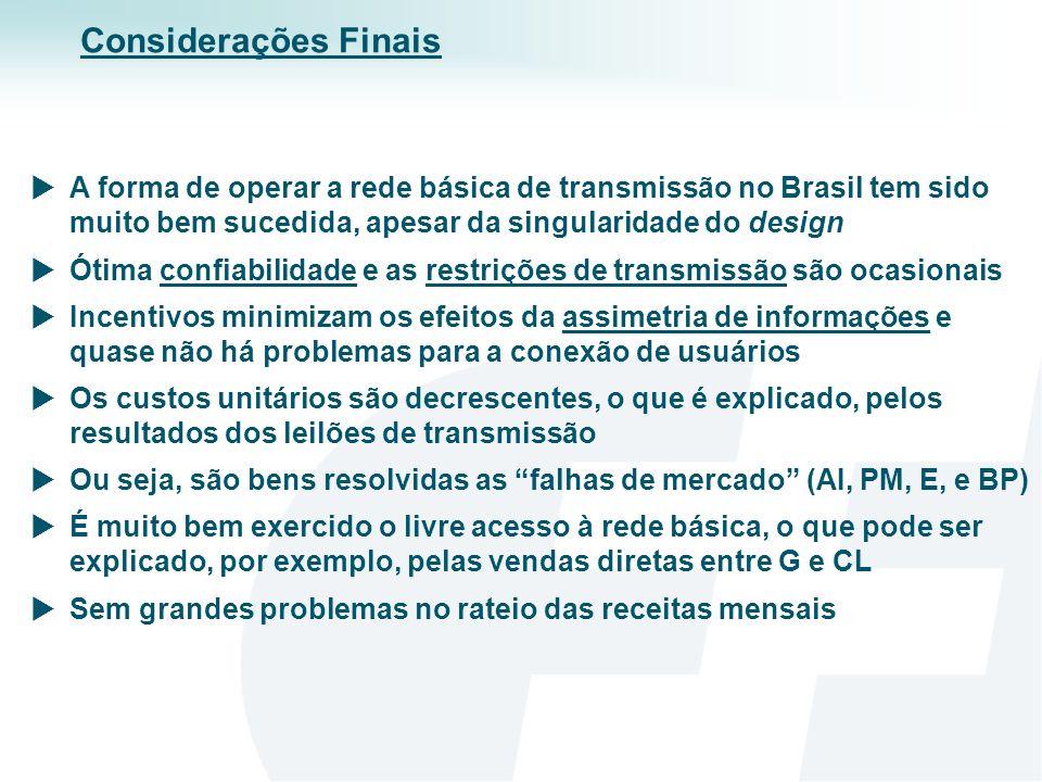 Considerações FinaisA forma de operar a rede básica de transmissão no Brasil tem sido muito bem sucedida, apesar da singularidade do design.