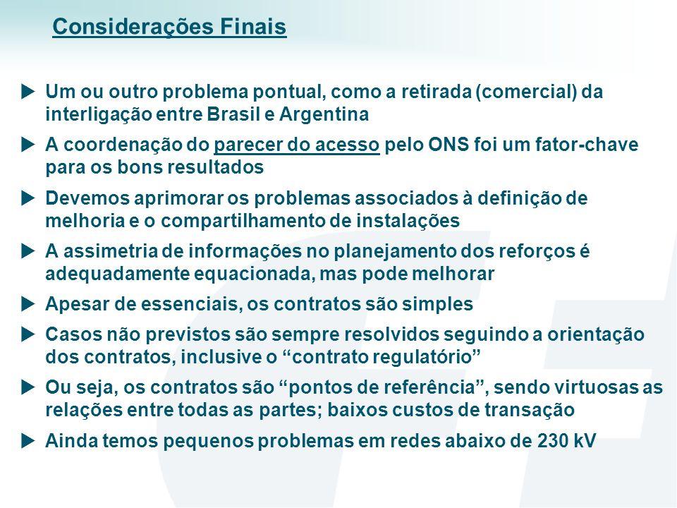 Considerações Finais Um ou outro problema pontual, como a retirada (comercial) da interligação entre Brasil e Argentina.
