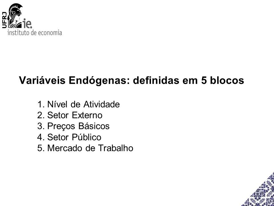 Variáveis Endógenas: definidas em 5 blocos 1. Nível de Atividade 2