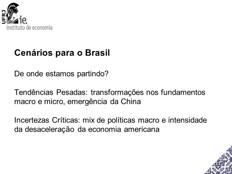 Cenários para o Brasil De onde estamos partindo