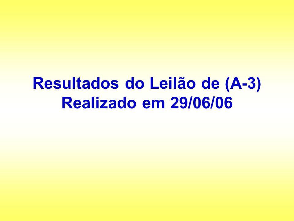 Resultados do Leilão de (A-3) Realizado em 29/06/06