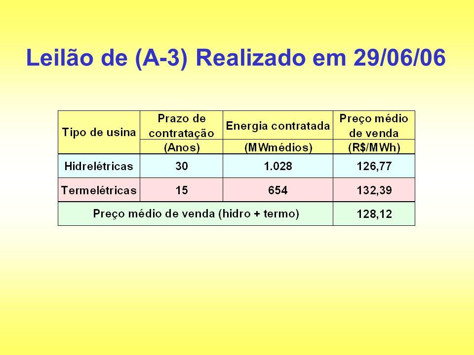 Leilão de (A-3) Realizado em 29/06/06
