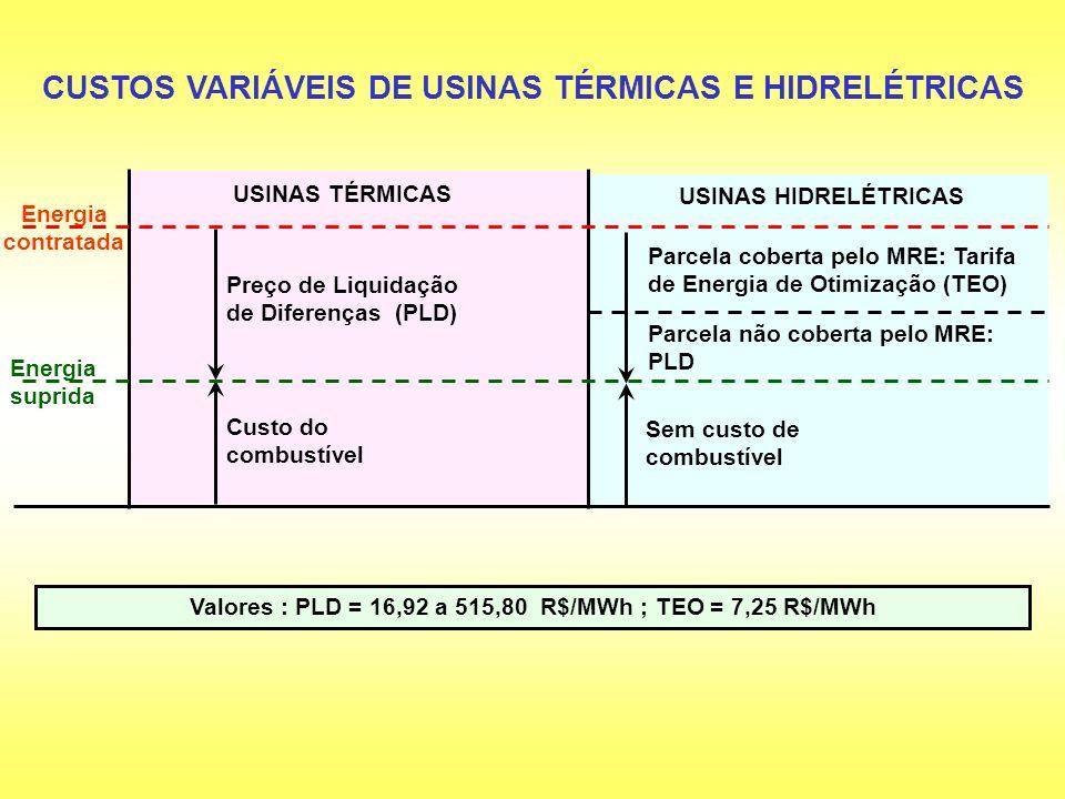 CUSTOS VARIÁVEIS DE USINAS TÉRMICAS E HIDRELÉTRICAS