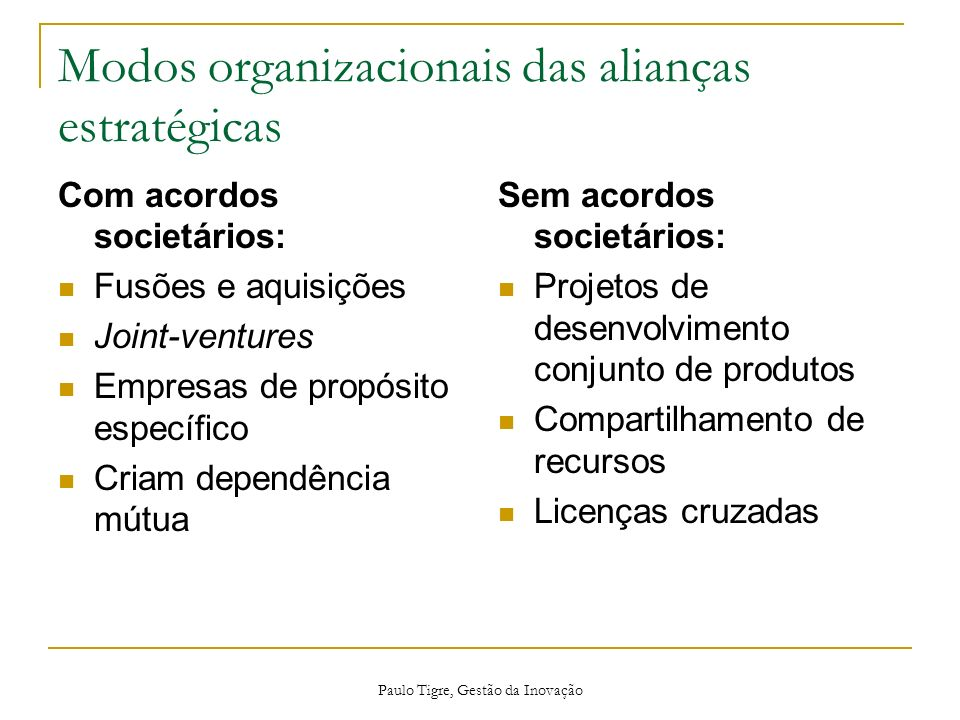 Modos organizacionais das alianças estratégicas