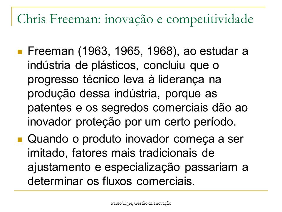 Chris Freeman: inovação e competitividade