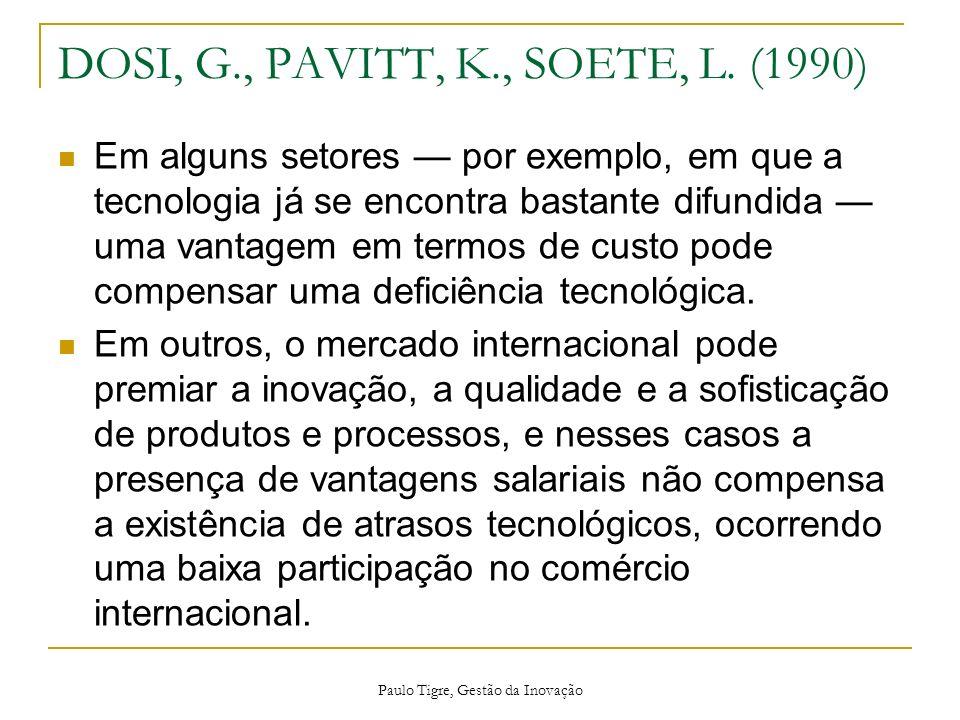 DOSI, G., PAVITT, K., SOETE, L. (1990)