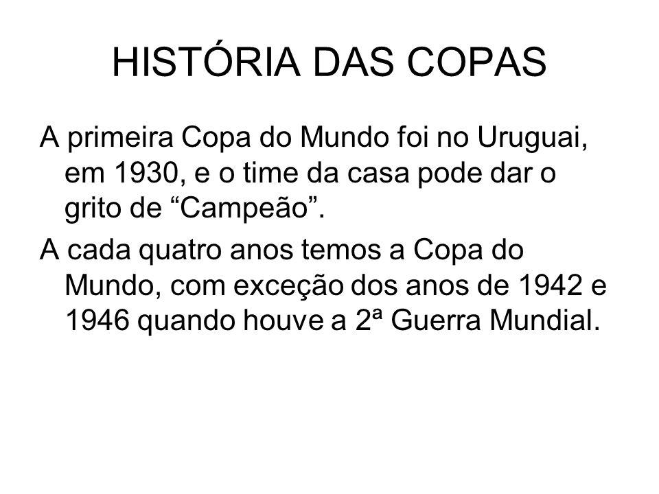 HISTÓRIA DAS COPAS A primeira Copa do Mundo foi no Uruguai, em 1930, e o time da casa pode dar o grito de Campeão .