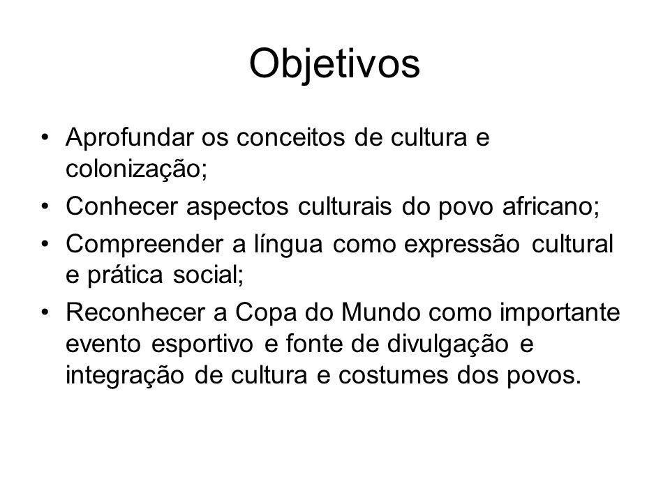 Objetivos Aprofundar os conceitos de cultura e colonização;