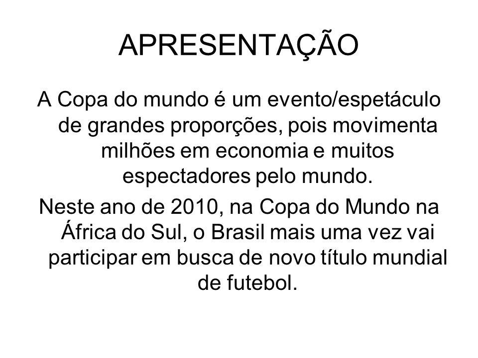 APRESENTAÇÃO A Copa do mundo é um evento/espetáculo de grandes proporções, pois movimenta milhões em economia e muitos espectadores pelo mundo.