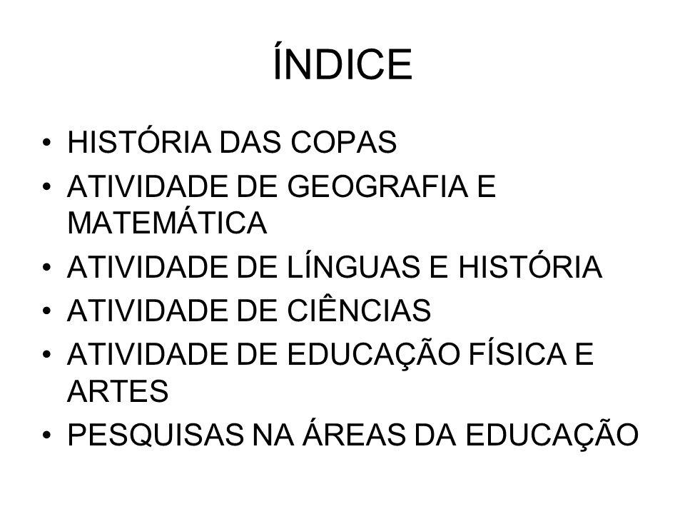 ÍNDICE HISTÓRIA DAS COPAS ATIVIDADE DE GEOGRAFIA E MATEMÁTICA