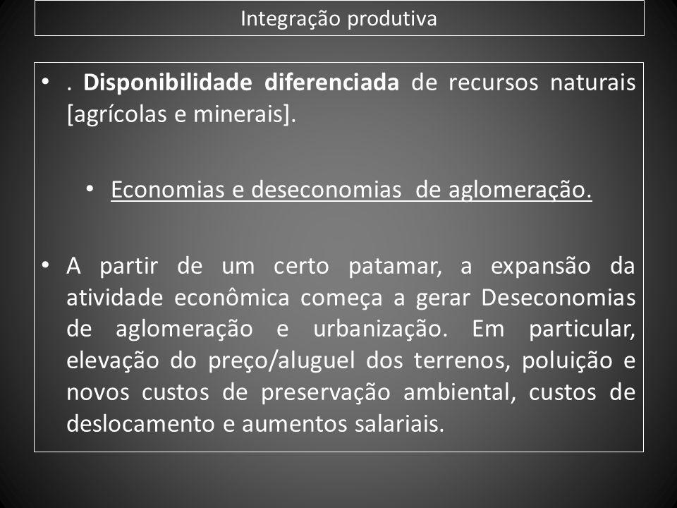 Economias e deseconomias de aglomeração.