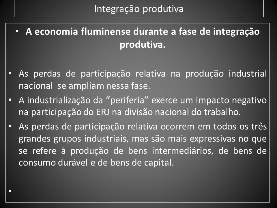 A economia fluminense durante a fase de integração produtiva.