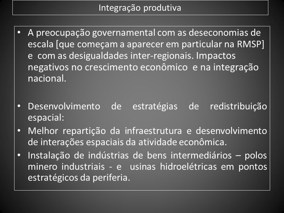 Desenvolvimento de estratégias de redistribuição espacial: