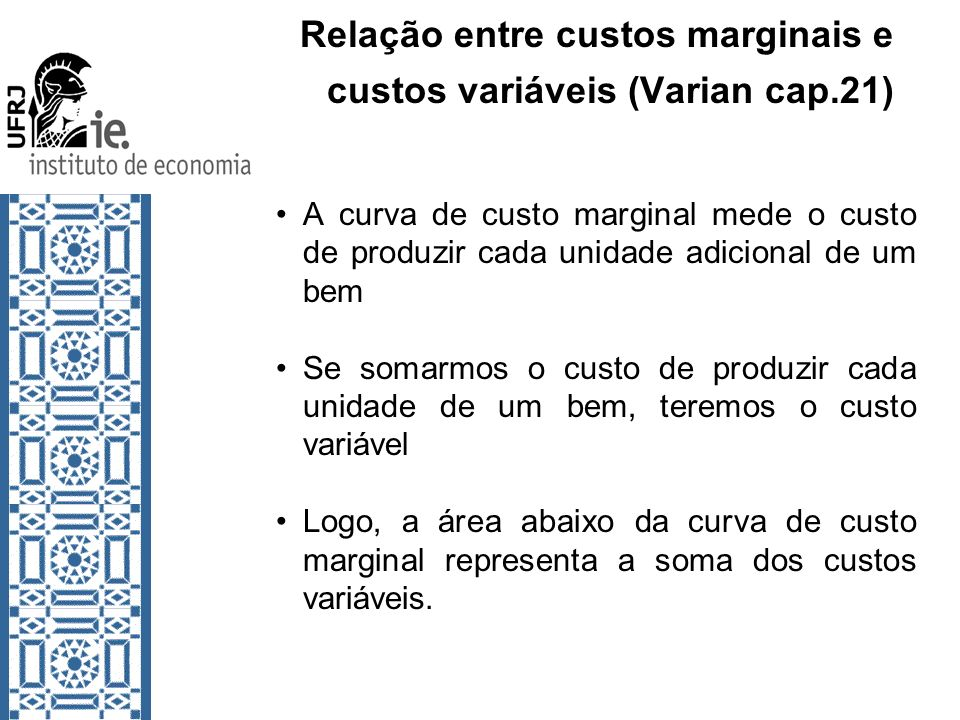 Relação entre custos marginais e custos variáveis (Varian cap.21)
