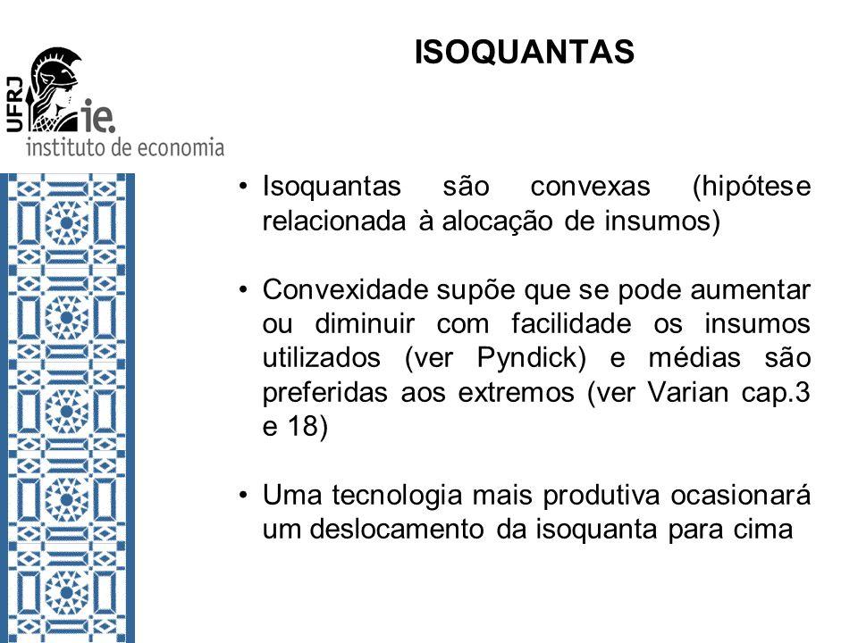 ISOQUANTAS Isoquantas são convexas (hipótese relacionada à alocação de insumos)