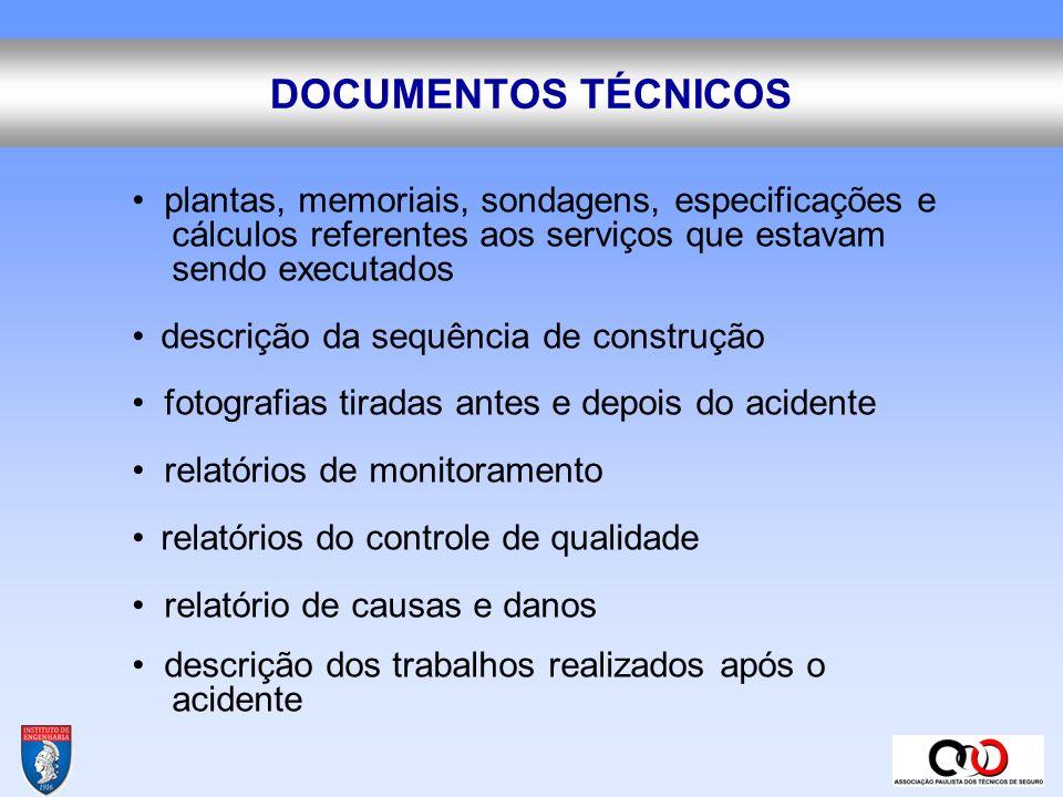 DOCUMENTOS TÉCNICOS • plantas, memoriais, sondagens, especificações e cálculos referentes aos serviços que estavam sendo executados.