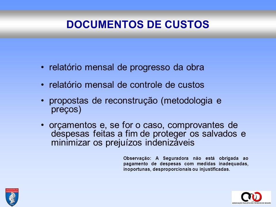 DOCUMENTOS DE CUSTOS • relatório mensal de progresso da obra