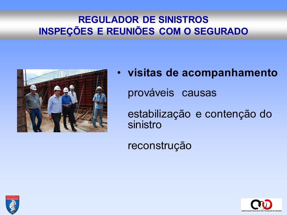 REGULADOR DE SINISTROS INSPEÇÕES E REUNIÕES COM O SEGURADO