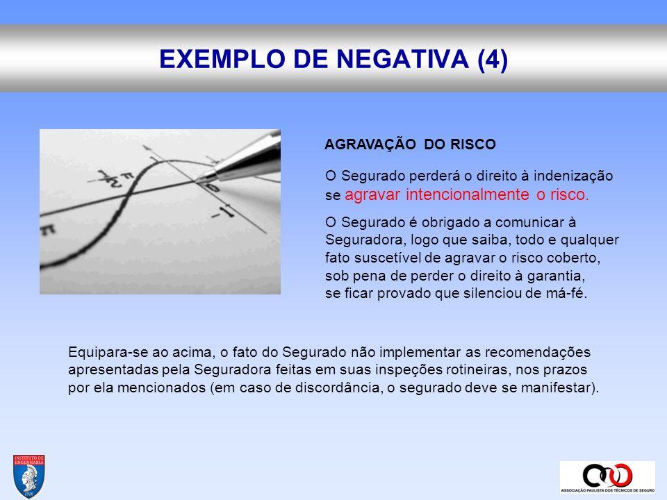 EXEMPLO DE NEGATIVA (4) AGRAVAÇÃO DO RISCO