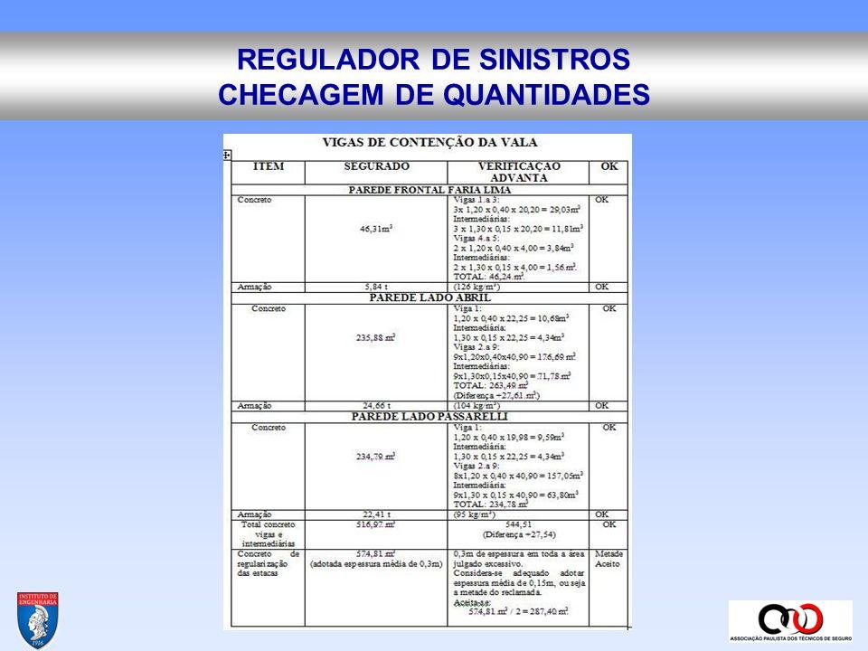 REGULADOR DE SINISTROS CHECAGEM DE QUANTIDADES