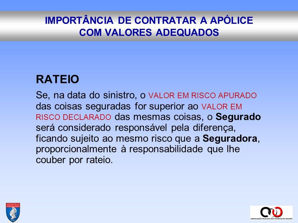 IMPORTÂNCIA DE CONTRATAR A APÓLICE COM VALORES ADEQUADOS
