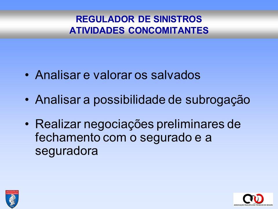 REGULADOR DE SINISTROS ATIVIDADES CONCOMITANTES