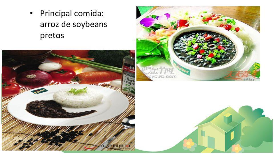 Principal comida: arroz de soybeans pretos