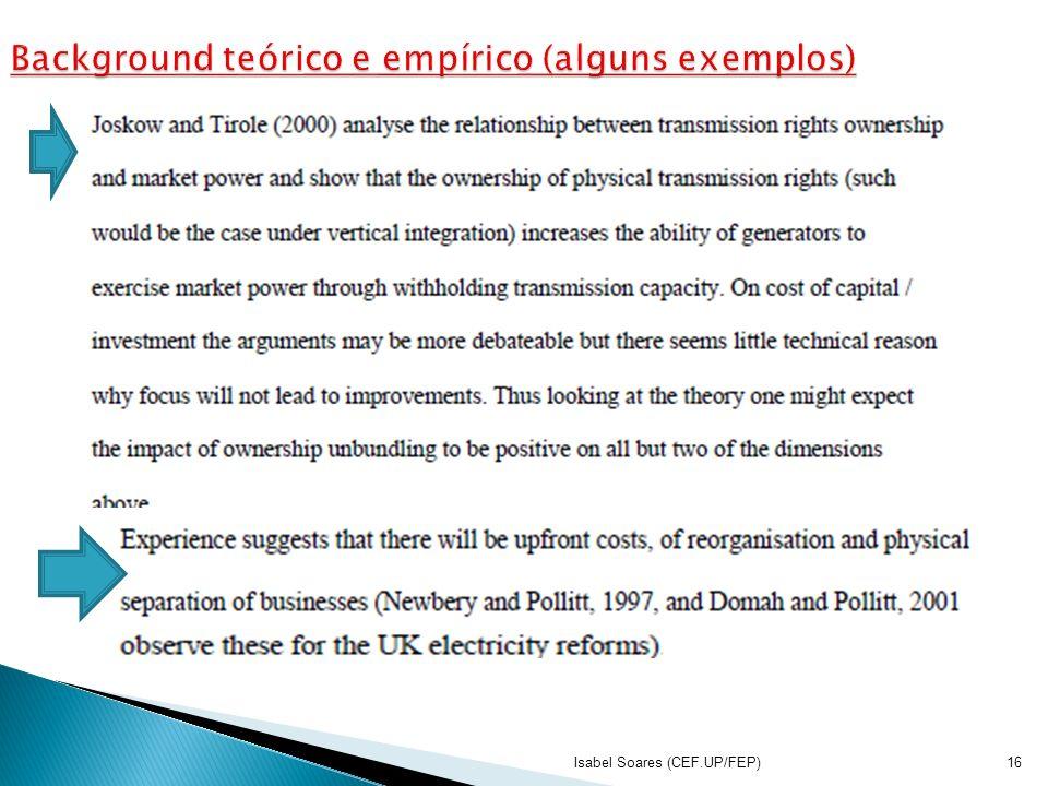 Background teórico e empírico (alguns exemplos)