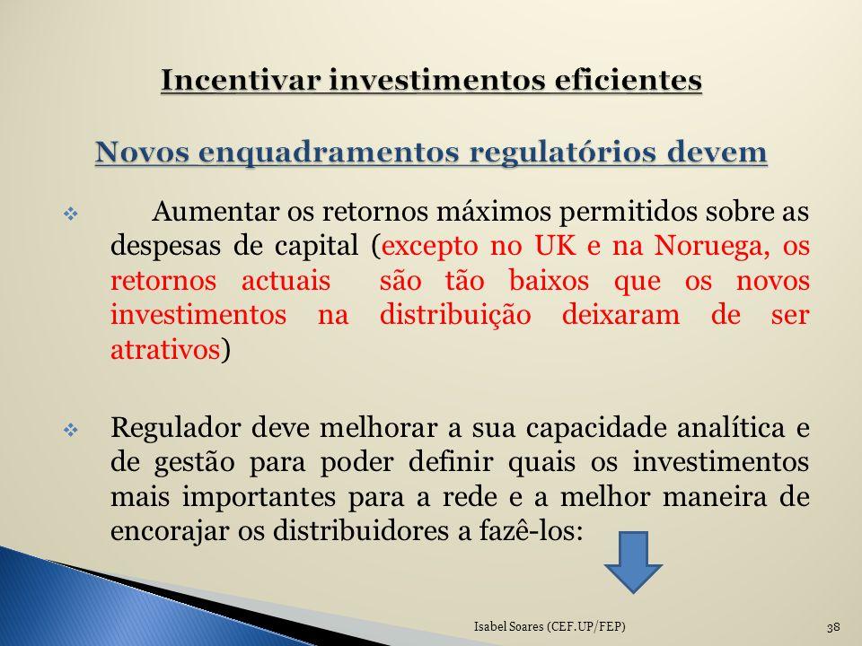 Incentivar investimentos eficientes Novos enquadramentos regulatórios devem