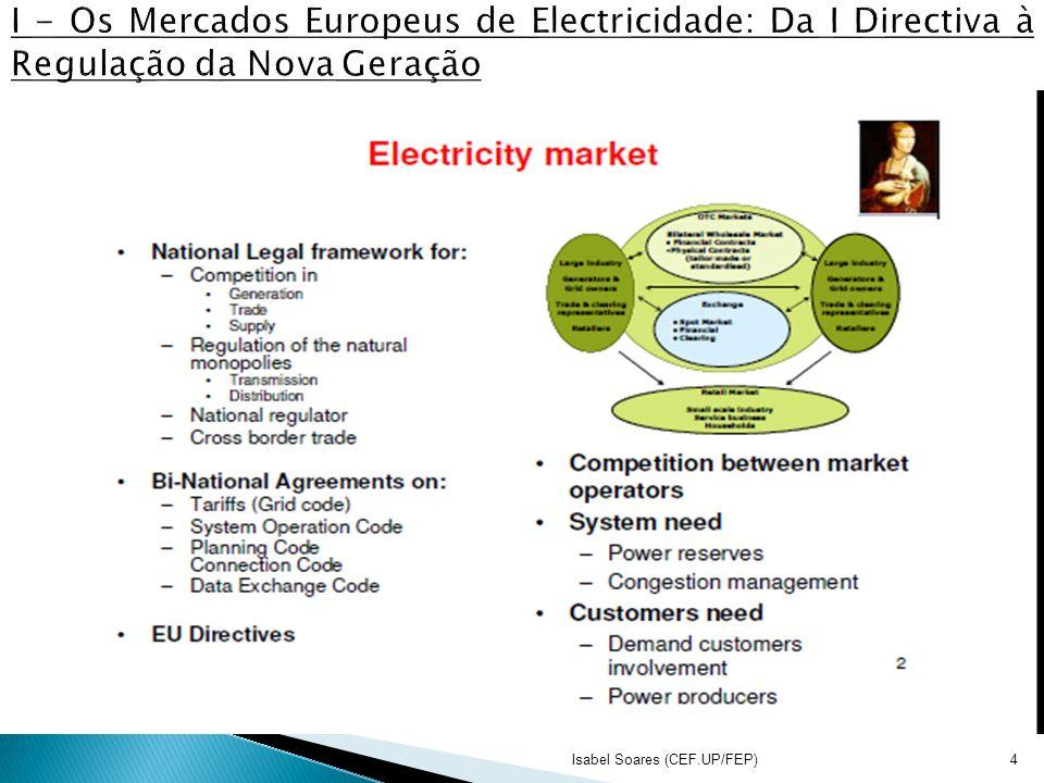 I - Os Mercados Europeus de Electricidade: Da I Directiva à Regulação da Nova Geração