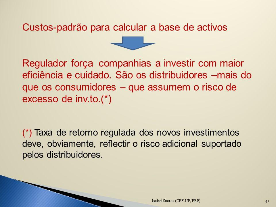 Custos-padrão para calcular a base de activos