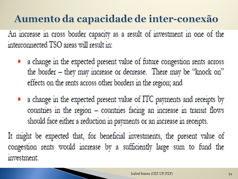 Aumento da capacidade de inter-conexão