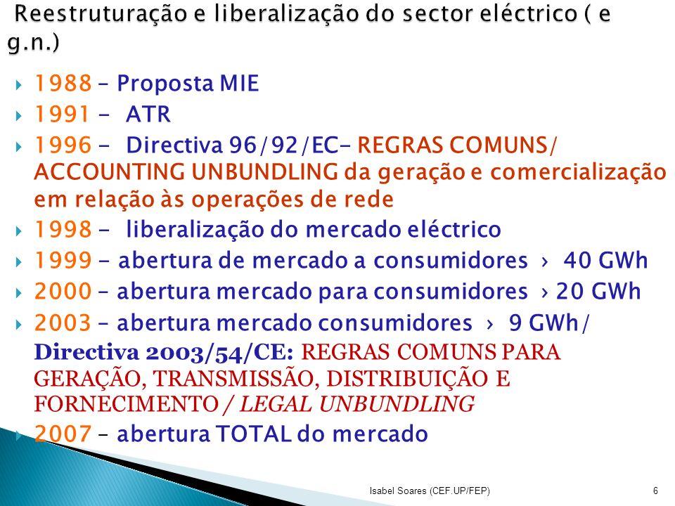 Reestruturação e liberalização do sector eléctrico ( e g.n.)
