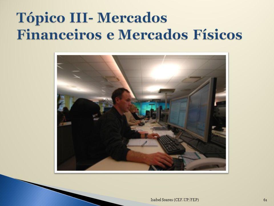 Tópico III- Mercados Financeiros e Mercados Físicos