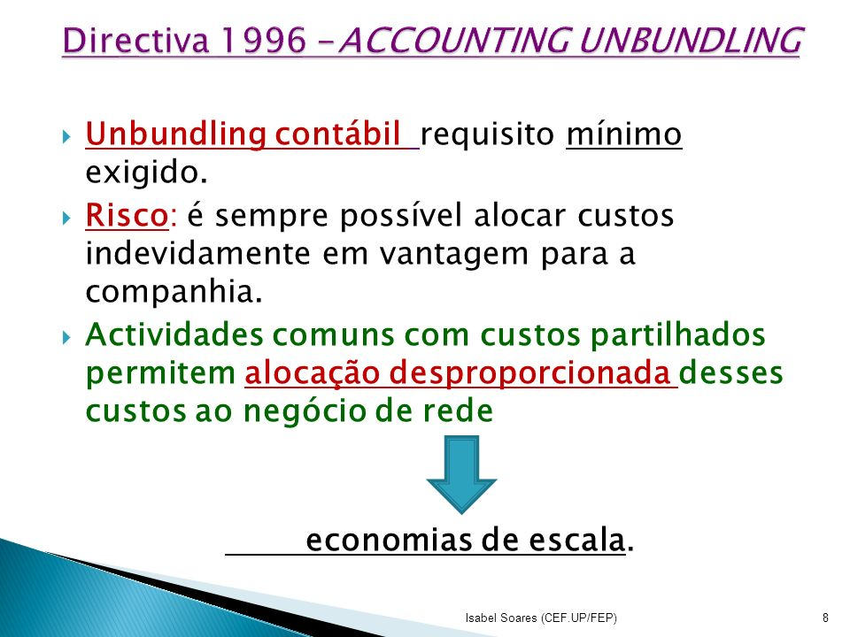 Directiva 1996 -ACCOUNTING UNBUNDLING