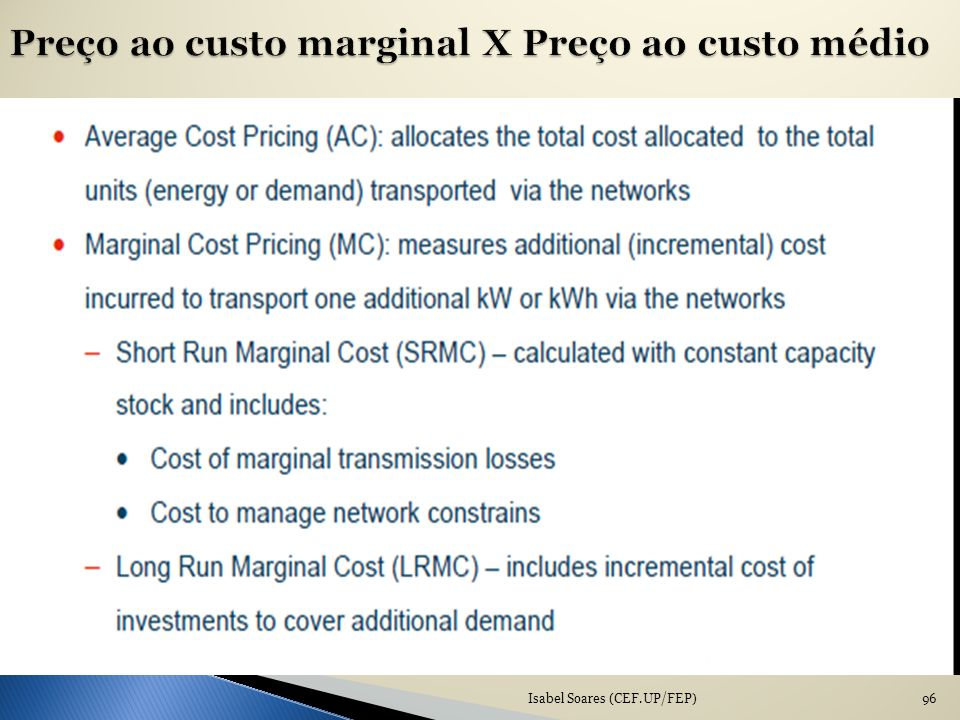 Preço ao custo marginal X Preço ao custo médio
