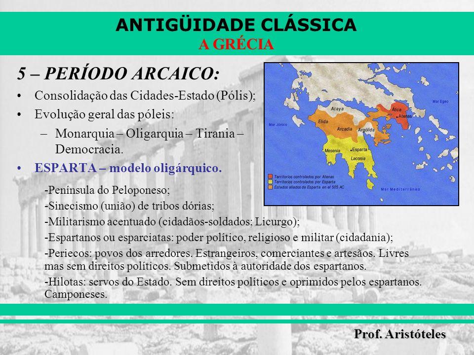 5 – PERÍODO ARCAICO: Consolidação das Cidades-Estado (Pólis);