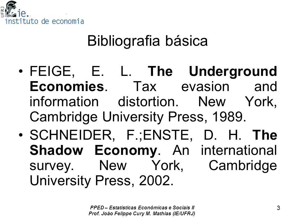 Bibliografia básica FEIGE, E. L. The Underground Economies. Tax evasion and information distortion. New York, Cambridge University Press, 1989.