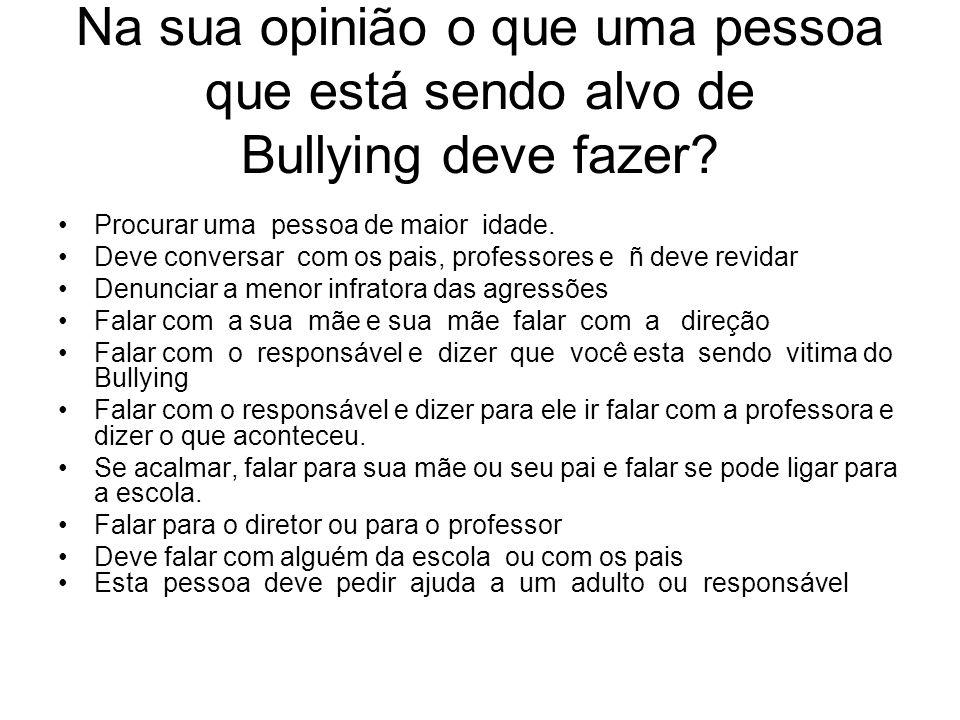 Na sua opinião o que uma pessoa que está sendo alvo de Bullying deve fazer