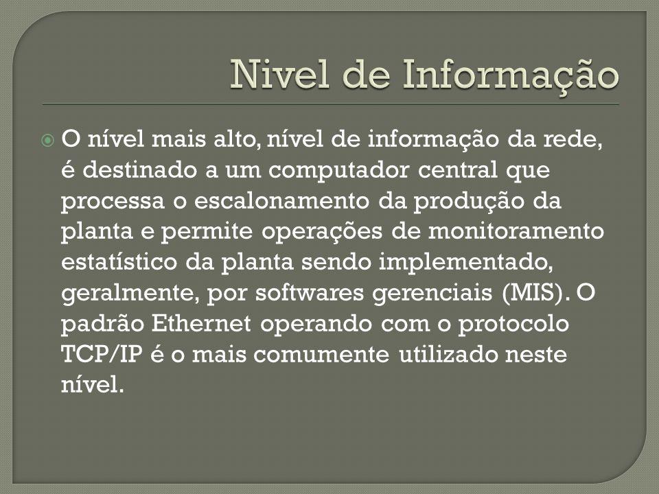 Nivel de Informação O nível mais alto, nível de informação da rede, é destinado a um computador central que.