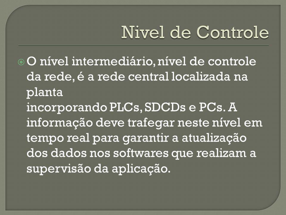 Nivel de ControleO nível intermediário, nível de controle da rede, é a rede central localizada na planta.