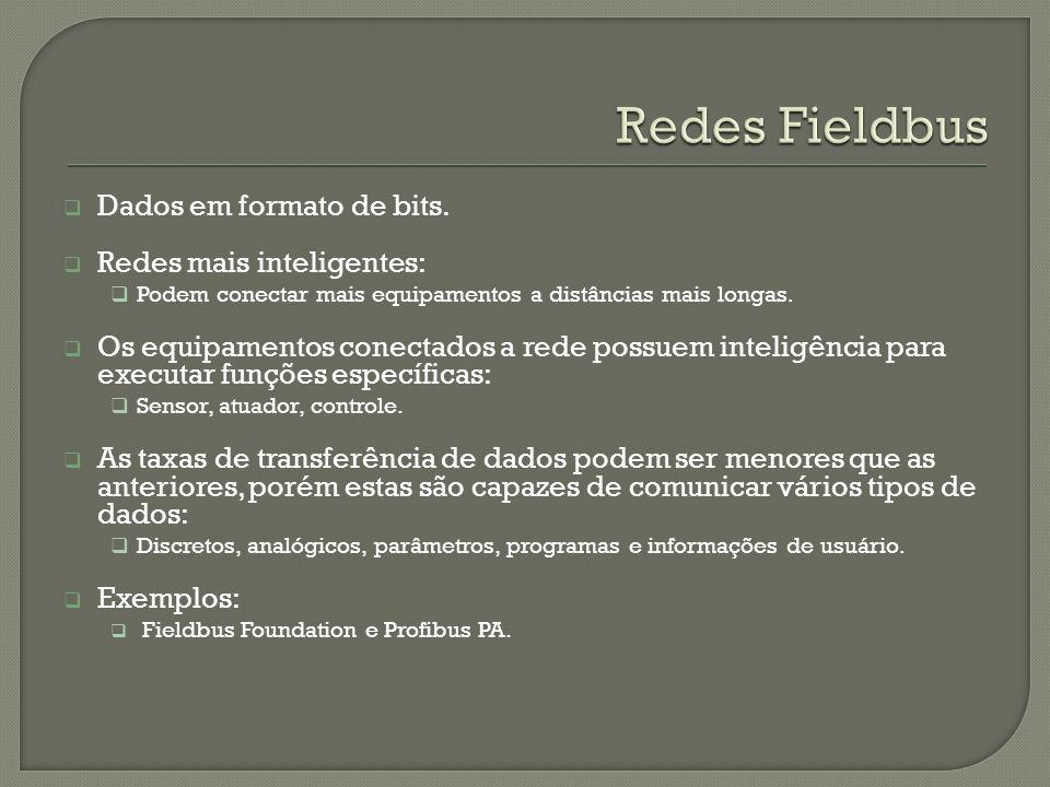Redes Fieldbus Dados em formato de bits. Redes mais inteligentes: