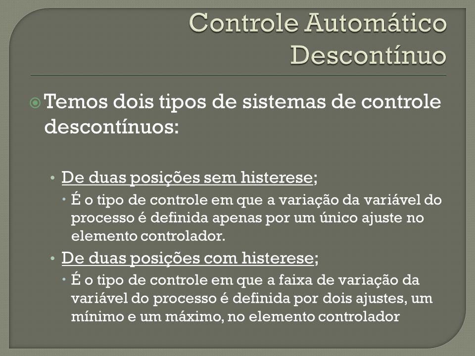 Controle Automático Descontínuo